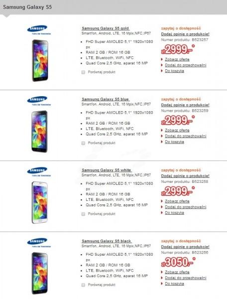 Ceny Samsunga Galaxy S5 w Redcoon / fot: galaktyczny.pl